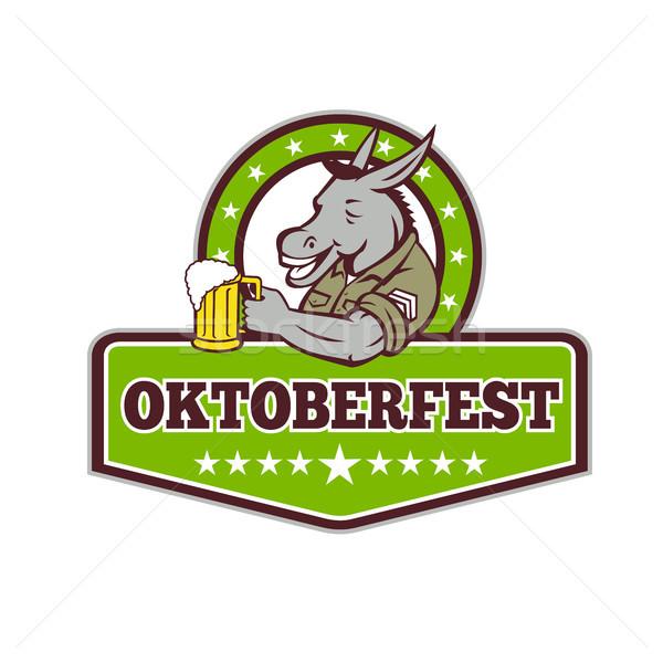 Burro cerveja oktoberfest retro estilo retro ilustração Foto stock © patrimonio