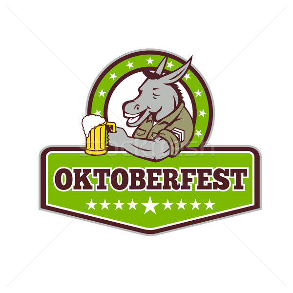 Donkey Beer Drinker Oktoberfest Retro Stock photo © patrimonio