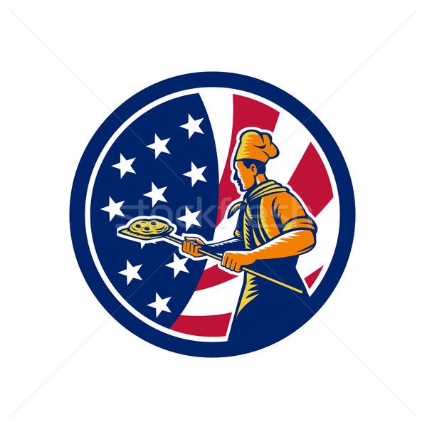 American Pizza Baker USA Flag Icon Stock photo © patrimonio