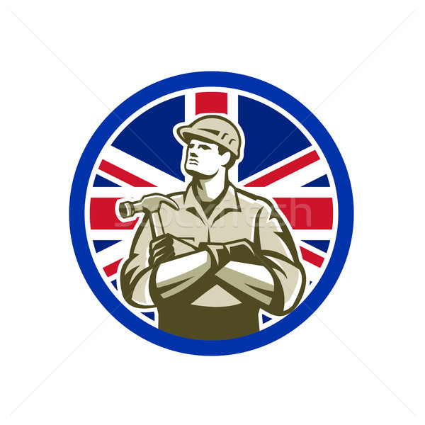 Brits bouwer union jack vlag icon retro-stijl Stockfoto © patrimonio