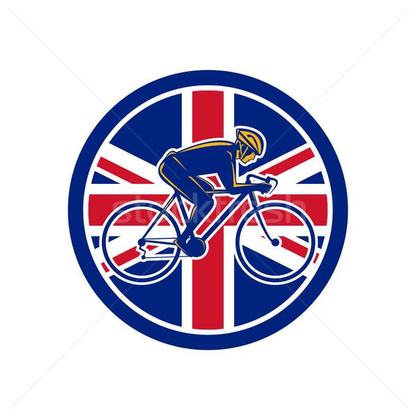 Brits fietser fietsen union jack vlag icon Stockfoto © patrimonio