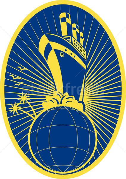 Boot oceaan wereldbol illustratie ingesteld Stockfoto © patrimonio