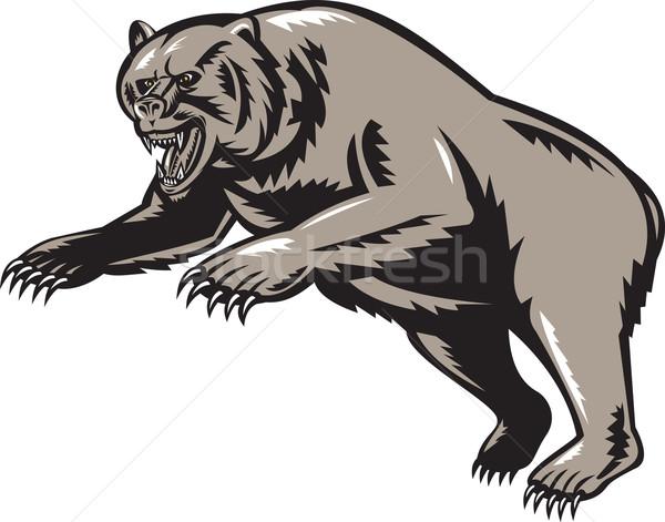 grizzly bear attacking woodcut style Stock photo © patrimonio