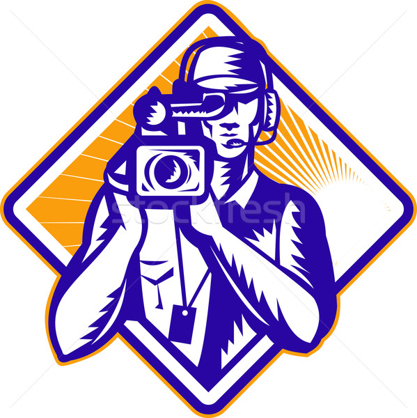 Film  Crew Cameraman Holding Camera Retro Stock photo © patrimonio
