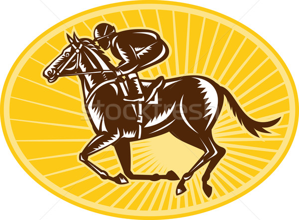 Jockey And Horse Racing Retro Style Stock photo © patrimonio