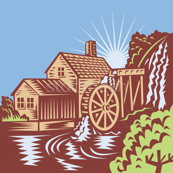 Water Wheel Mill House Retro  Stock photo © patrimonio