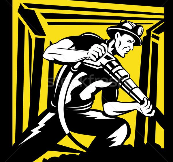 miner with pneumatic drill in mine shaft Stock photo © patrimonio