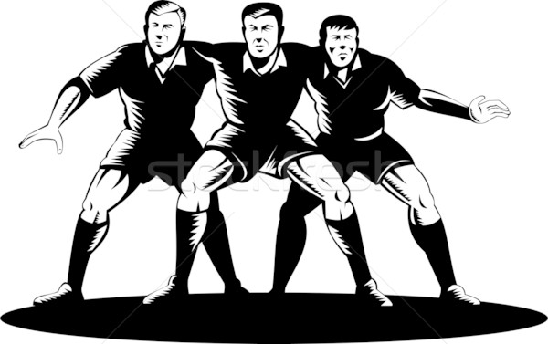 rugby player forward pack in a scrum Stock photo © patrimonio