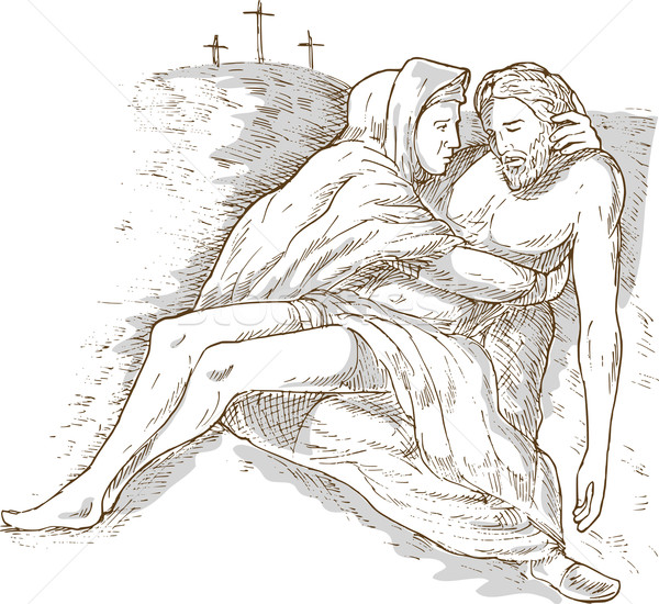 Mother Mary and the dead Jesus Christ with the cross of calvary Stock photo © patrimonio