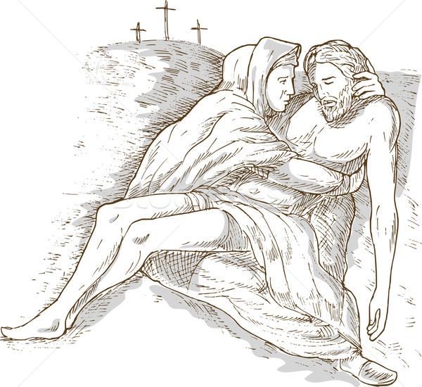 Madre morti Gesù Cristo cross mano Foto d'archivio © patrimonio
