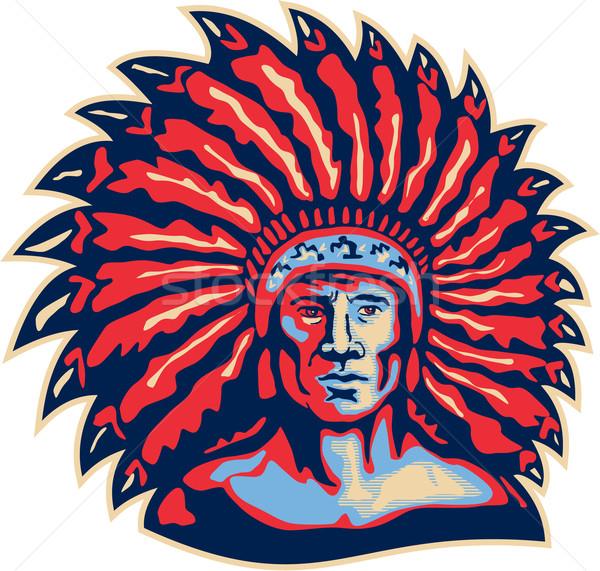 Native American Indian Chief Warrior Retro Stock photo © patrimonio