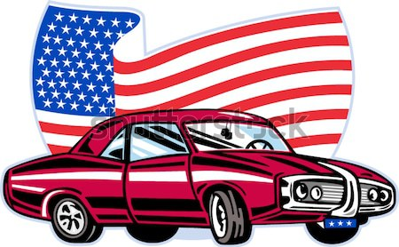 American muscle car with flag Stock photo © patrimonio