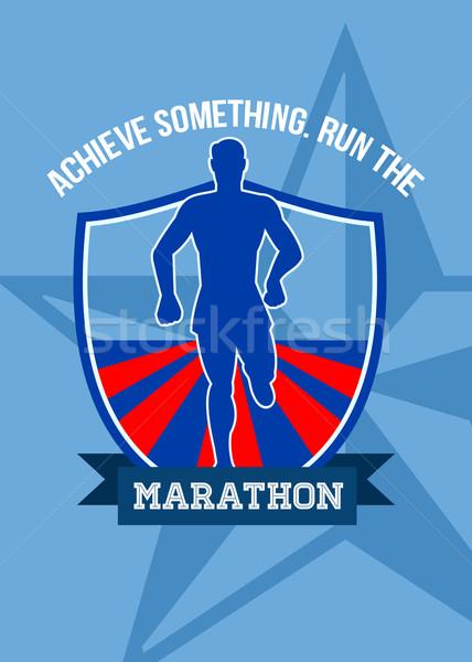 Ejecutar maratón algo anunciante tarjeta de felicitación ilustración Foto stock © patrimonio