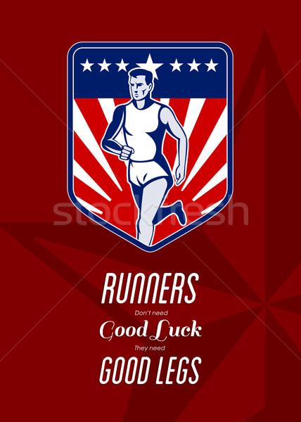 アメリカン マラソン ランナー 良い 脚 ポスター ストックフォト © patrimonio