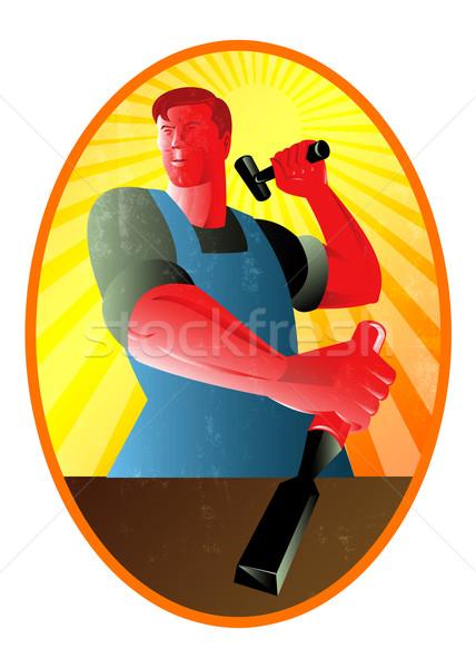 Charpentier marteau ciseler rétro illustration Photo stock © patrimonio