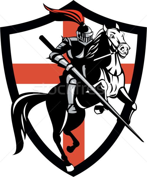 Engels ridder paardrijden paard Engeland vlag Stockfoto © patrimonio