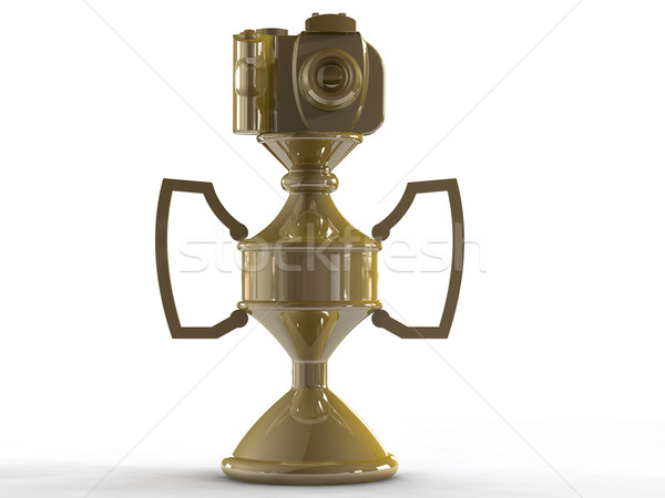 Gold DSLR camera trophy or cup isolated on white  Stock photo © patrimonio