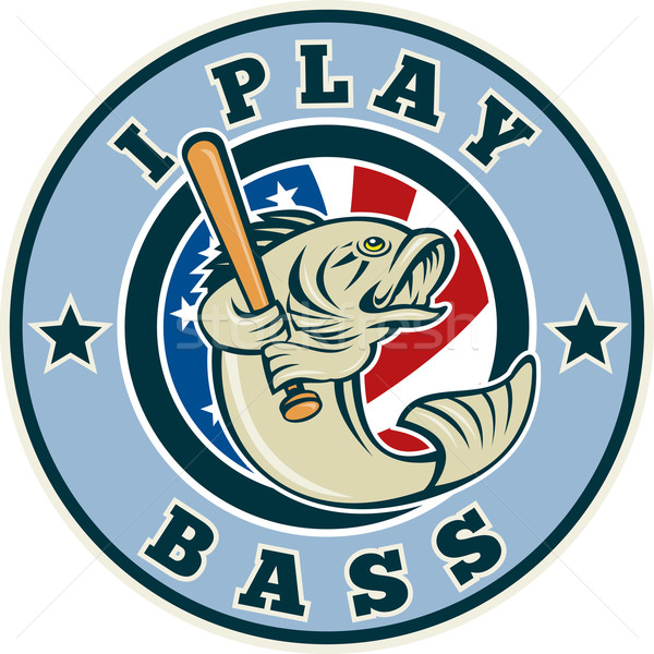 Largemouth bass playing baseball bat Stock photo © patrimonio