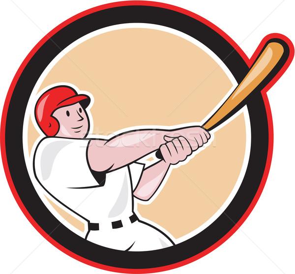 Jogador de beisebol círculo desenho animado ilustração americano bat Foto stock © patrimonio