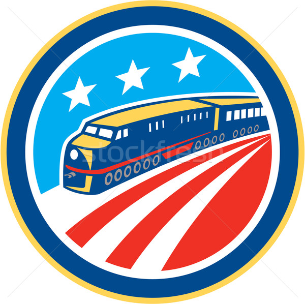 Diesel Train American Stars Stripes Retro Stock photo © patrimonio