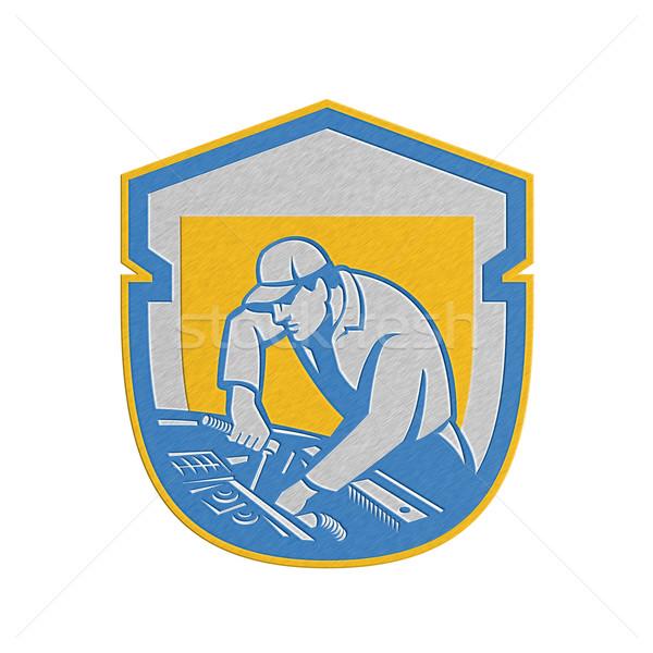 メタリック 自動車修理 シールド レトロな ストックフォト © patrimonio