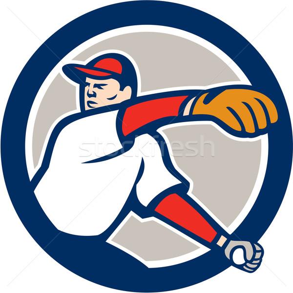 Baseball Pitcher Throw Ball Circle Cartoon Stock photo © patrimonio
