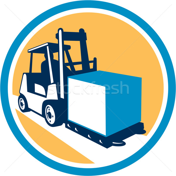 Forklift Truck Box Circle Retro Stock photo © patrimonio