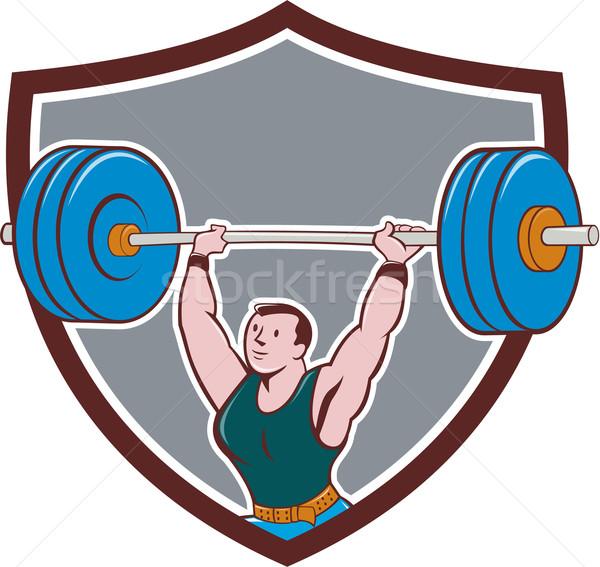 Gewichtheffer barbell schild cartoon illustratie Stockfoto © patrimonio