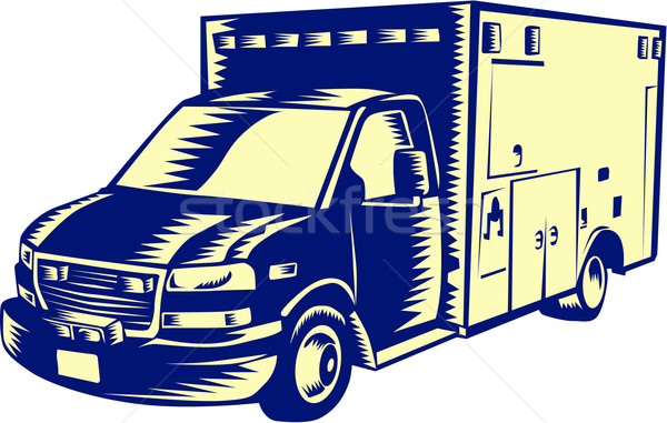 EMS Ambulance Emergency Vehicle Woodcut Stock photo © patrimonio