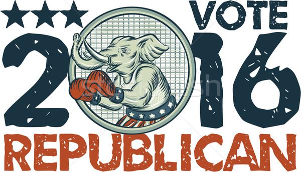 Vote Republican 2016 Elephant Boxer Circle Etching Stock photo © patrimonio