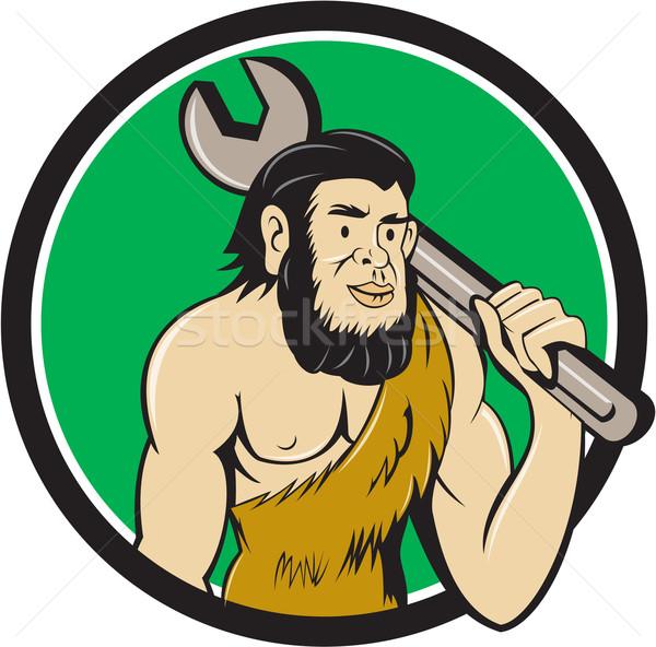 Neanderthal CaveMan With Spanner Circle Cartoon Stock photo © patrimonio