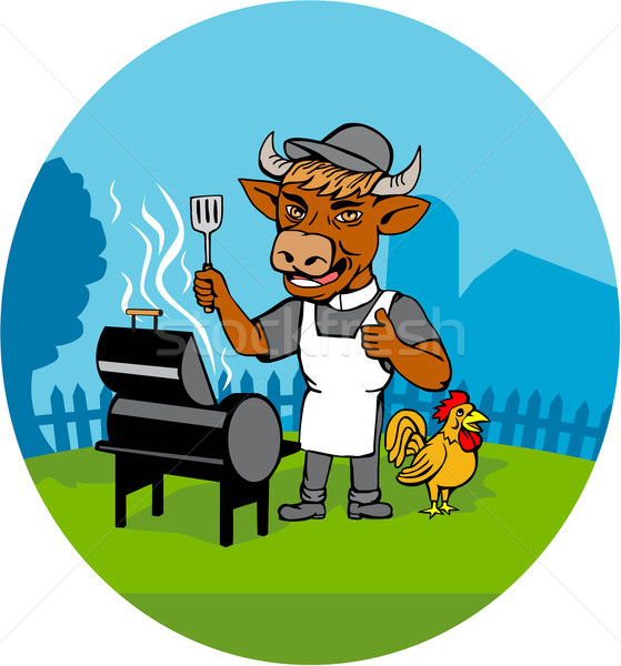 Stock photo: Clergy Cow Minister Barbecue Chef Rooster Caricature
