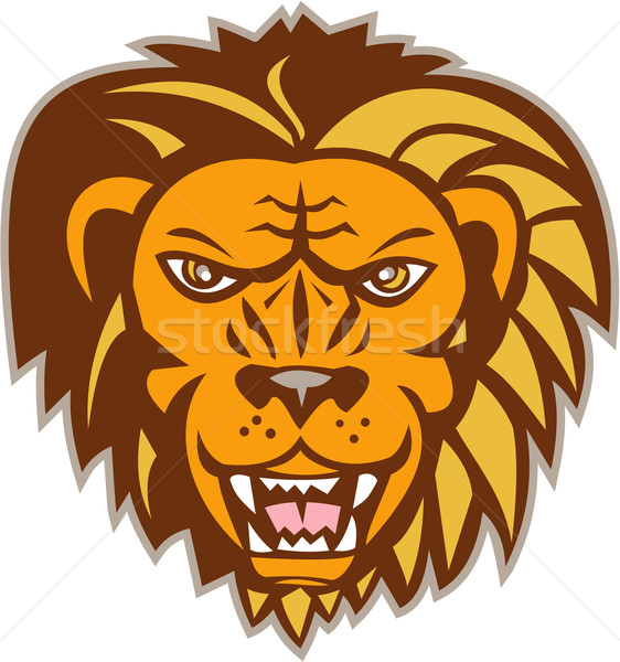 Mérges oroszlán nagymacska fej retro illusztráció Stock fotó © patrimonio