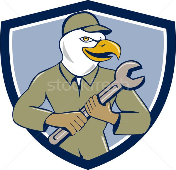 Amerikai kopasz sas szerelő csavarkulcs címer Stock fotó © patrimonio