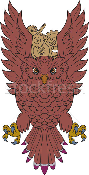 Owl Wings Spread Swooping Clock Gears Drawing Stock photo © patrimonio