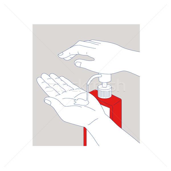 Mano línea ilustración desinfectante jabón limpieza Foto stock © patrimonio