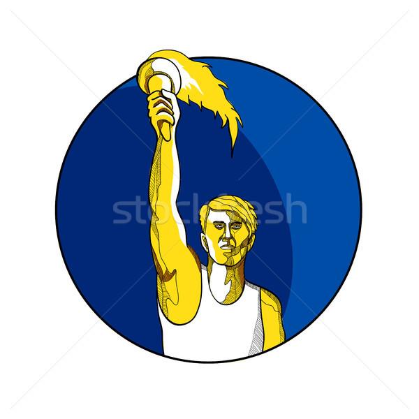 Atléta lángoló zseblámpa rajz rajz stílus Stock fotó © patrimonio