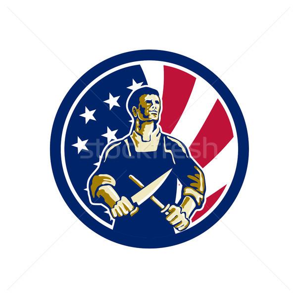 American Butcher USA Flag Icon Stock photo © patrimonio