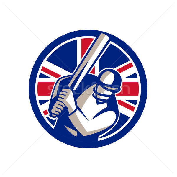 Brits cricket union jack vlag icon retro-stijl Stockfoto © patrimonio