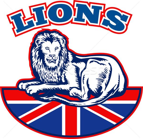 Oroszlán ül brit brit zászló zászló illusztráció Stock fotó © patrimonio