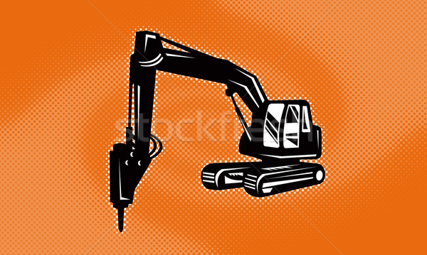 construction digger mechanical excavator Stock photo © patrimonio