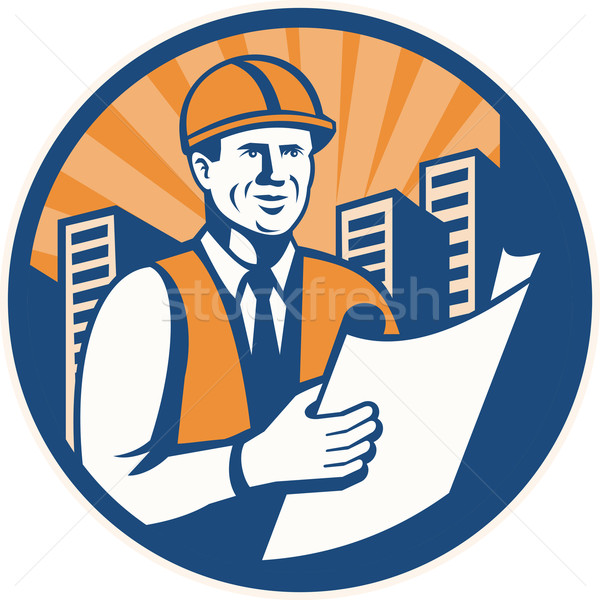Construction Engineer Architect Foreman Retro Stock photo © patrimonio