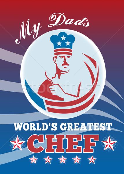 Legnagyszerűbb apa szakács üdvözlőlap poszter illusztráció Stock fotó © patrimonio