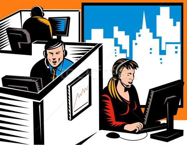 Irodai dolgozó retro illusztráció telefon headset ablak Stock fotó © patrimonio