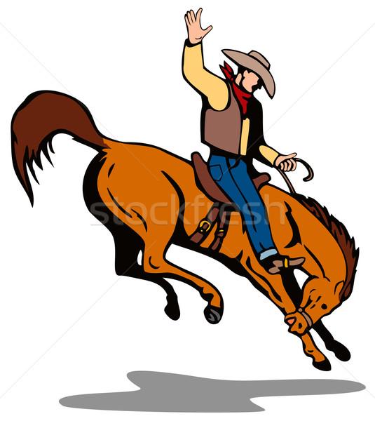 ロデオ カウボーイ ライディング 馬 実例 孤立した ストックフォト © patrimonio