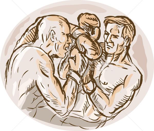 two male boxers throwing punches Stock photo © patrimonio