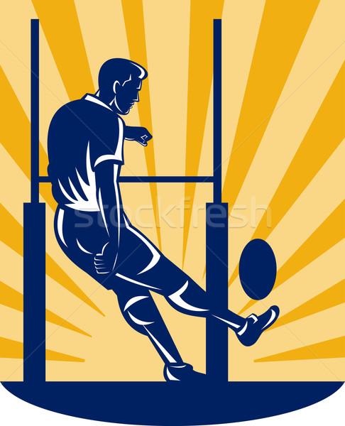 rugby player kicking at goal post Stock photo © patrimonio