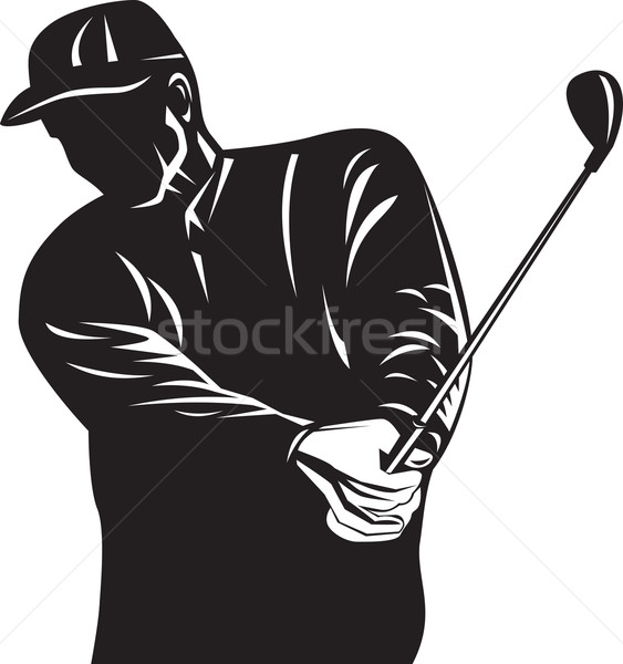 Golfer Swinging Club Black and White Retro Stock photo © patrimonio