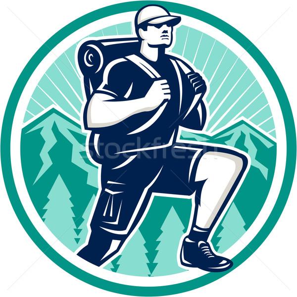 Hiker Hiking Mountain Retro Stock photo © patrimonio
