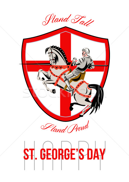 Stand Tall Happy St George Day Retro Poster Stock photo © patrimonio